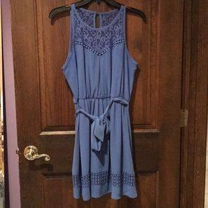 Blue Sleeveless Juniors Dress